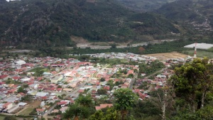 View of Orosi from lookout from steep road
