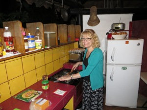 Ellen cooking a great dinner in Margarita's rancho.