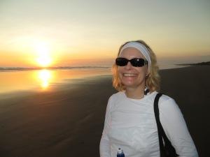 Enjoying a sunset walk on the beach