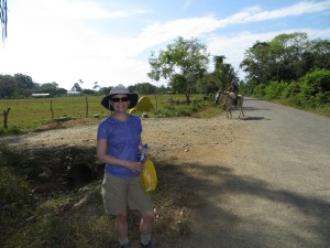 """Ellen with the """"Yellow Rock"""" marking our road."""