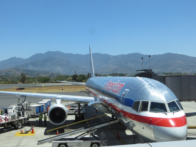 Waiting to board our plane at San Jose Airport