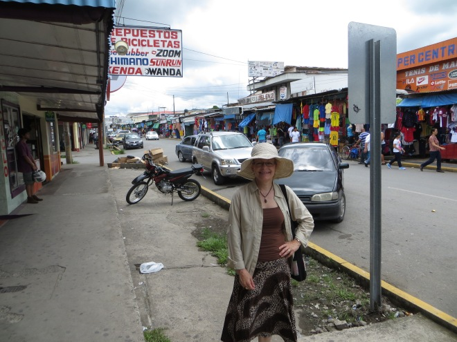 Border street in Paso Canoas.  Ellen is standing on the Costa Rica side.