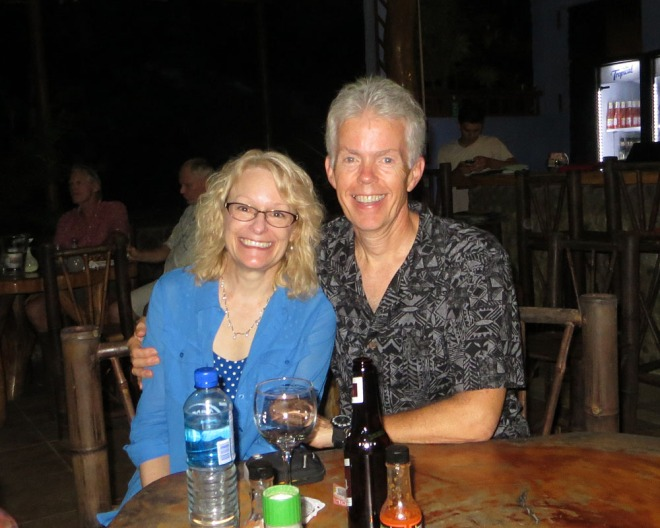Enjoying an evening out at Ballena Beach Club with our friends George and Susie.