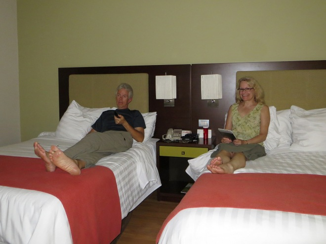 At our hotel in David after a hard day of shopping!