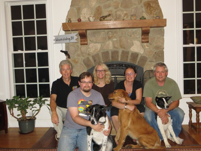 Here we are with Erik, Jane and Mark, along with the 3 dogs.