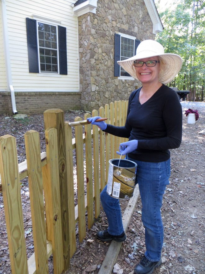 Ellen sealing the fence