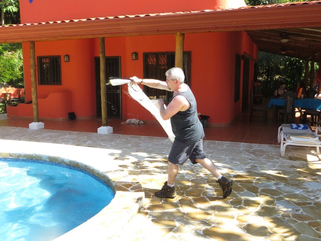 Mark practicing his throwing of the cast net.