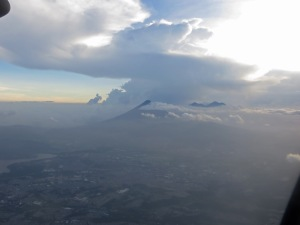 On our approach to Guatemala City with the volcanoes in the background