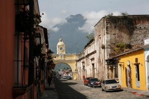 The Arch of Santa Catalina with Volcán de Agua in the background