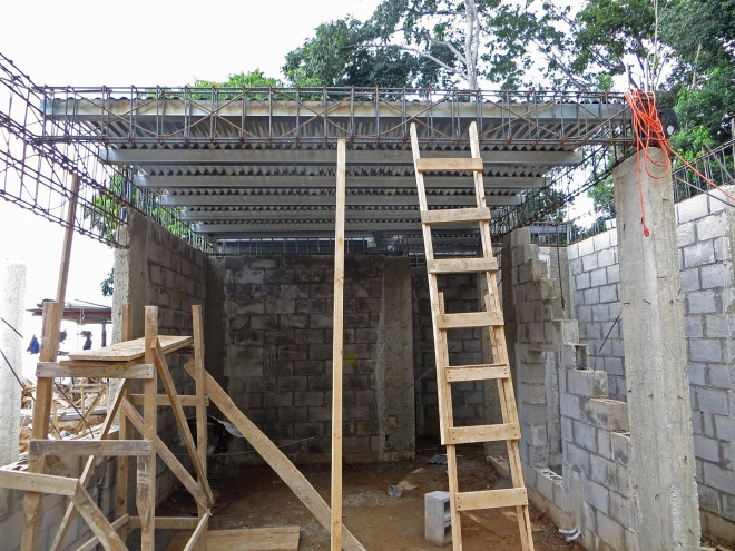 The second floor decking above the kitchen area
