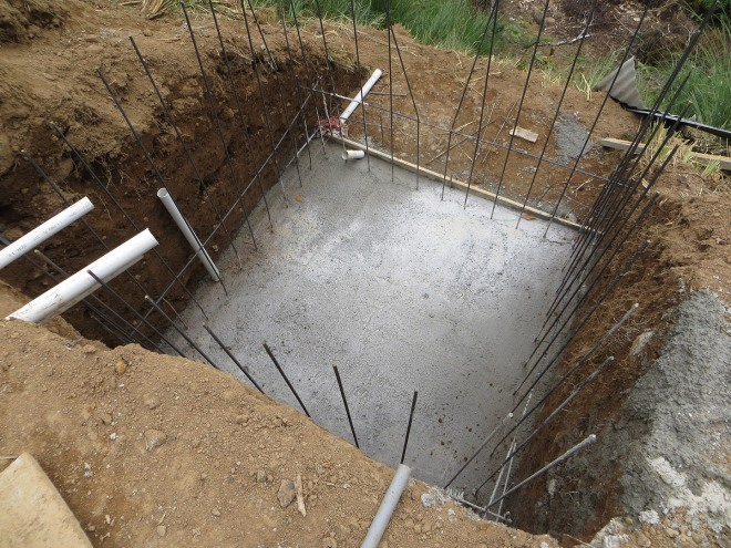 This is the beginning of the pool equipment room which is dug into the front of the plantel