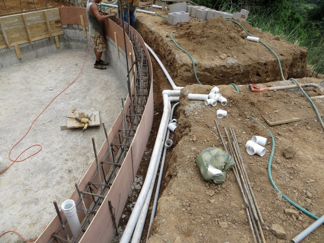 Routing of the supply and suction lines from the pool to the pool equipment room