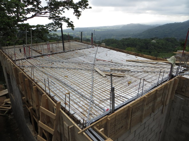 The left section of the house is formed and ready to pour the concrete floor and crown beams
