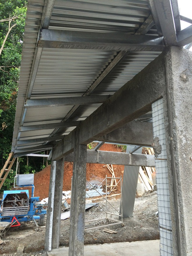 Here you see a portion of the carport roof with the zinc in place.