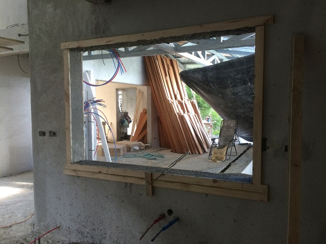 This is the kitchen window with the wooden guides still in place.