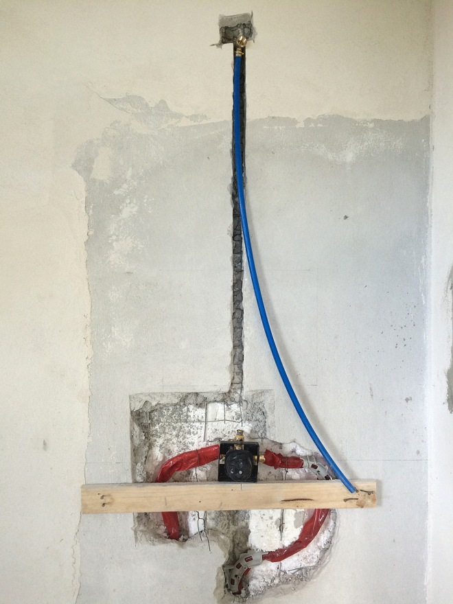 The shower valve for the guest suite is plumbed with PEX tubing.
